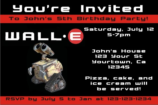 wall e invitations personalized party invites