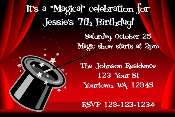 Magicians Hat Magic Show invitation Personalized Party Invites – Magic Party Invitations