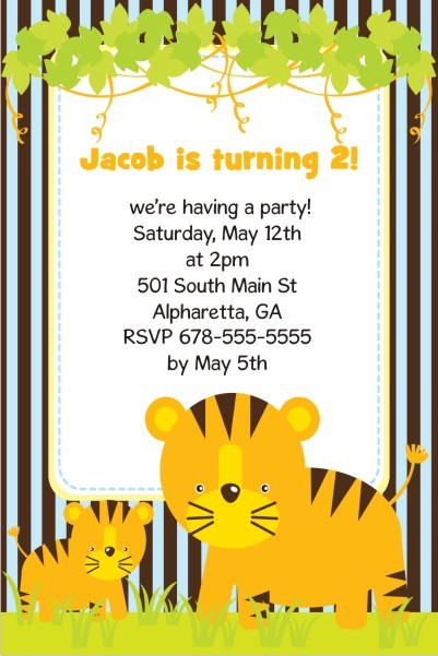 Jungle Fun Invitation  - Tiger and Cub