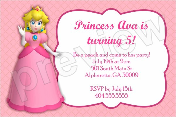 princess peach birthday party invitation super mario personalized