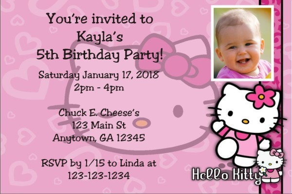 Hello Kitty Photo Invitations Personalized Party Invites – Personalized Hello Kitty Birthday Invitations