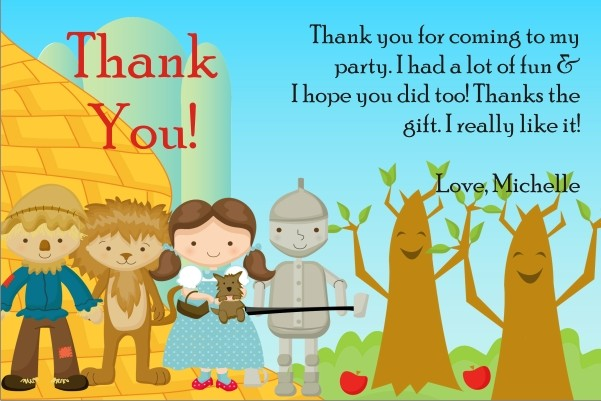 wizard of oz thank you cards personalized party invites
