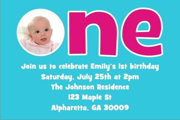 1st (First) Birthday Photo Invitation  - ALL COLORS