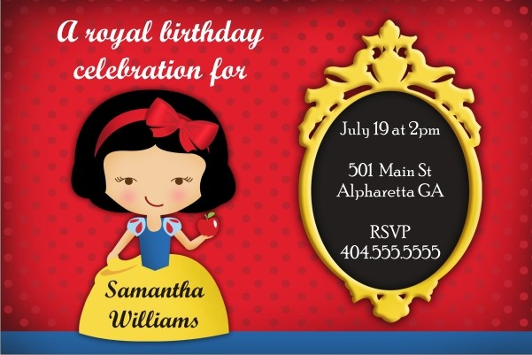 Snow White Personalized Birthday Party Invitation