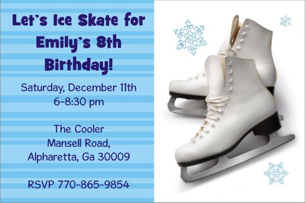 Ice Skating Party Invitation Personalized Party Invites