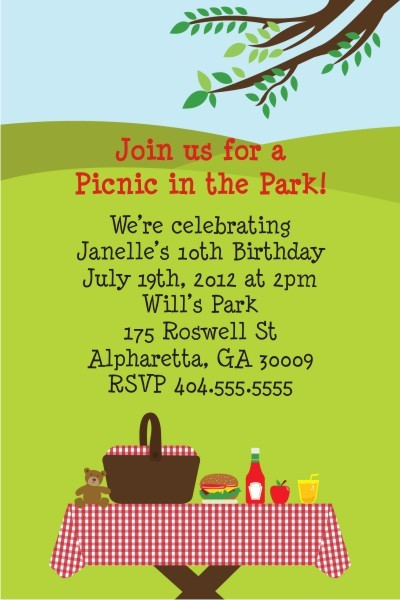 Picnic Invitation  Table In The Park Personalized Party Invites