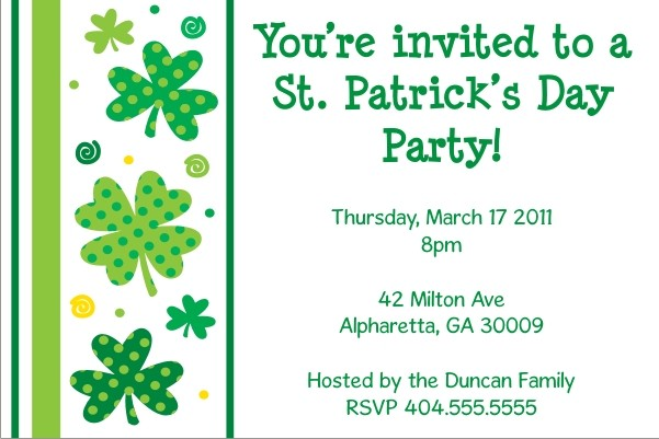 St. Patrick's Day Party Invitation - Shamrocks n Stripes