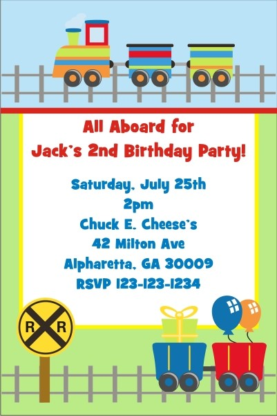 Train Invitations Personalized Party Invites