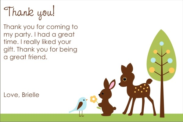 Forest Friends Thank You Cards - Deer, Bunny, Bird
