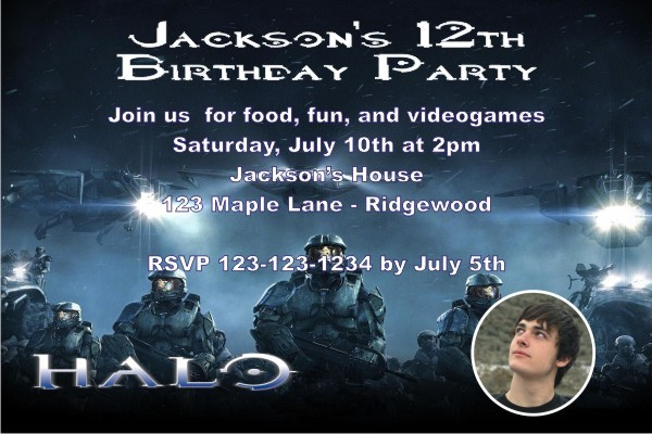 halo birthday invitation personalized party invites