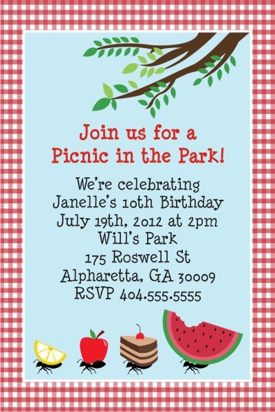 Picnic Invitation  Ant Thieves Personalized Party Invites