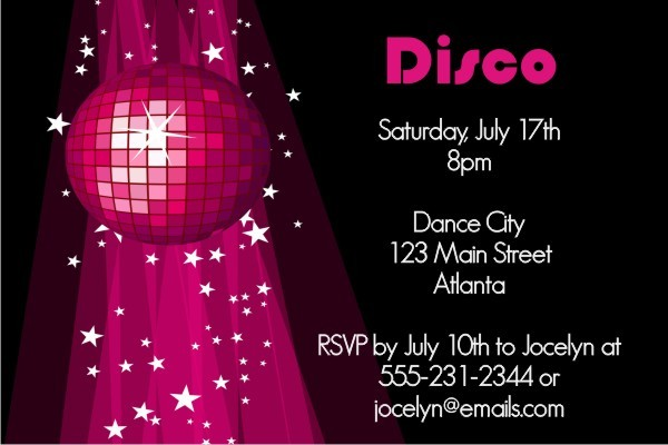 Disco Invitation 2 - Pink Disco Ball Personalized Party ...