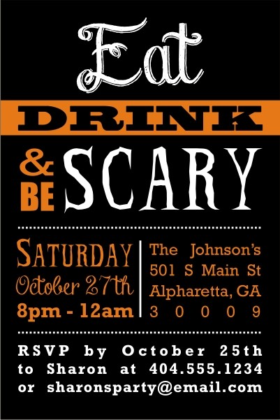 Eat Drink and Be Scary Halloween Party Invitation Personalized