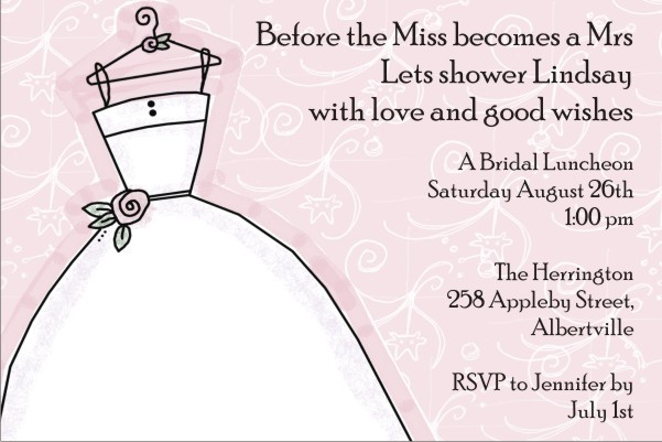 bridal shower invitation pink background