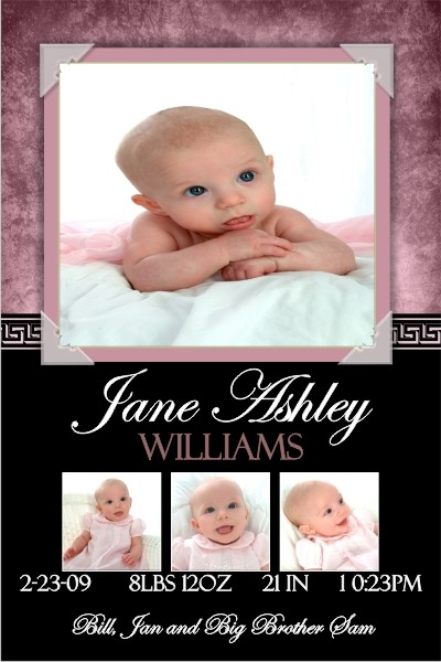 Newborn Baby Birth Announcement 5 (pink)