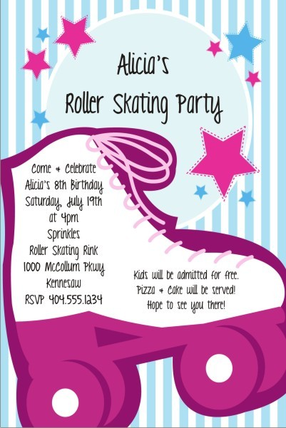 girly pink roller skating party invitation personalized party invites, Party invitations