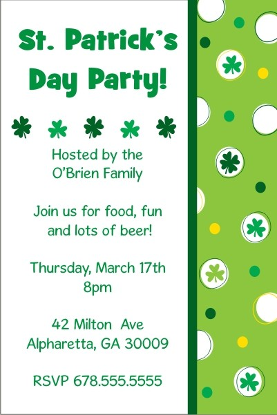 st patrick s day party invitation feeling lucky personalized