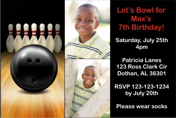 Bowling Photo Invitation