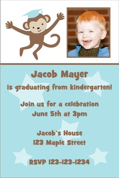 Graduation Monkey Photo Invitation - Blue