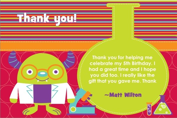 Monster Science Thank You Card - Test Tube