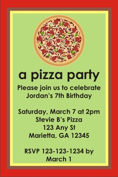 Pizza Party Invitation Personalized