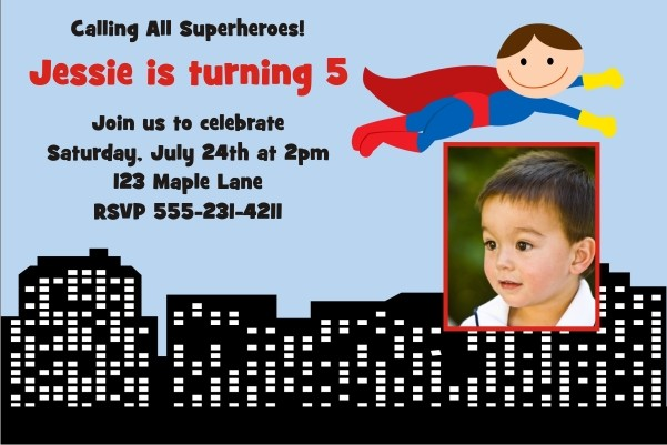 Superhero Birthday Invitation 2 - Photo