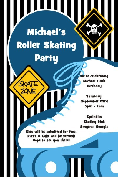 Boyish Blue Roller Skating Party Invitation Personalized Party Invites