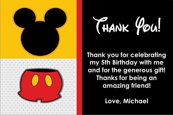 Mouse Thank You Card Similar To Mickey Mouse Personalized Party