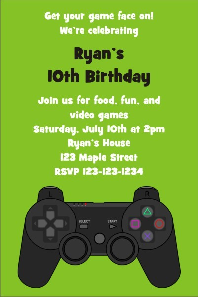 Playstation Xbox Video Game Invitation
