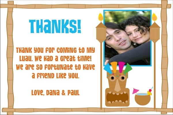 Luau Thank You Card Personalized Party Invites