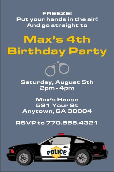 police car invitation personalized party invites
