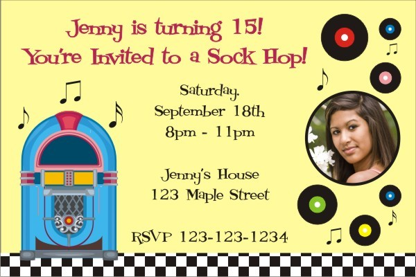 1950s Retro Jukebox Sock Hop Invitation With Optional Photo