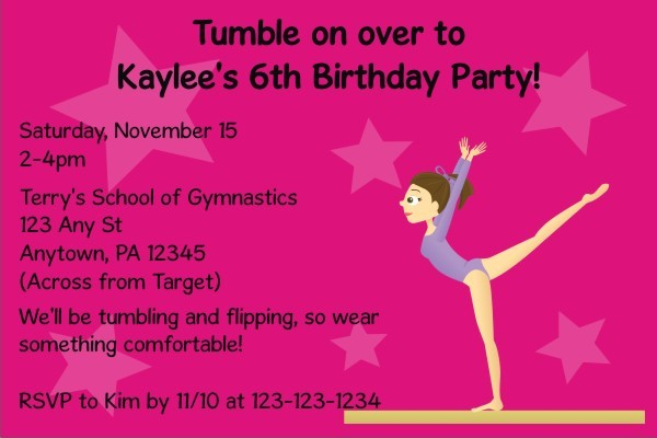 gymnastics invitation personalized party invites