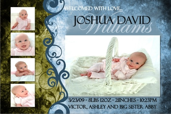 Newborn Baby Birth Announcement 3 (blue)