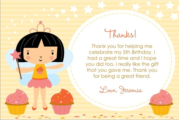 Cupcake Fairy Princess Thank You Card - Circle Fun