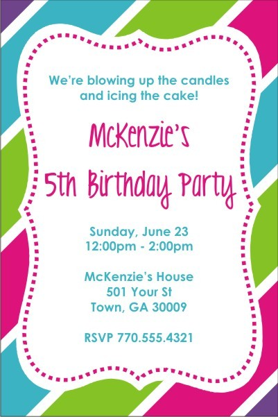 Fabulous Stripes Brithday Party Invitation