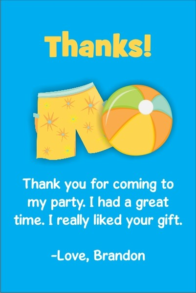 boy pool party thank you cards personalized party invites