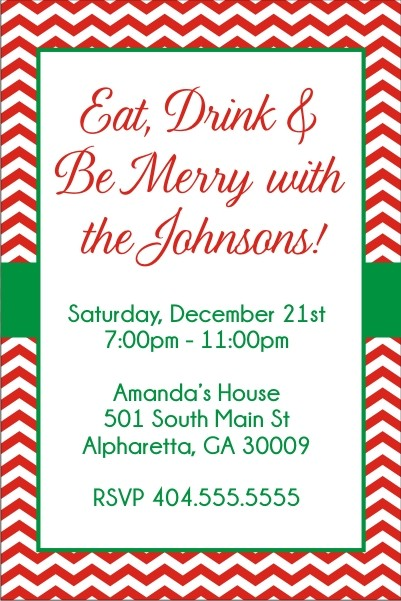 Chevron strip Christmas party invitation