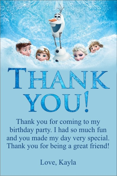 frozen  movie  thank you card personalized party invites