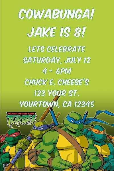 Teenage Mutant Ninja Turtles Invitation TMNT Turtle Power