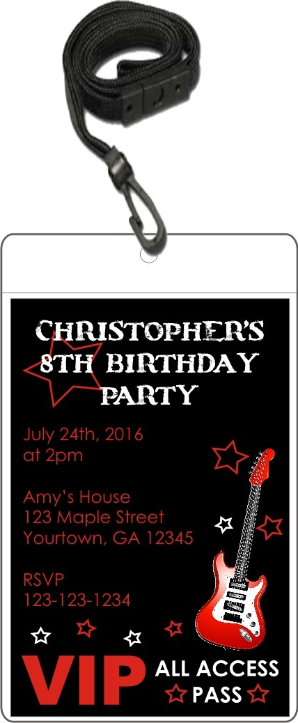 Rock Star Red Guitar VIP Pass Invitation with Lanyard Personalized