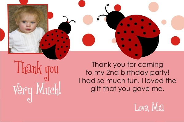 Ladybug Thank You Card with Optional Photo