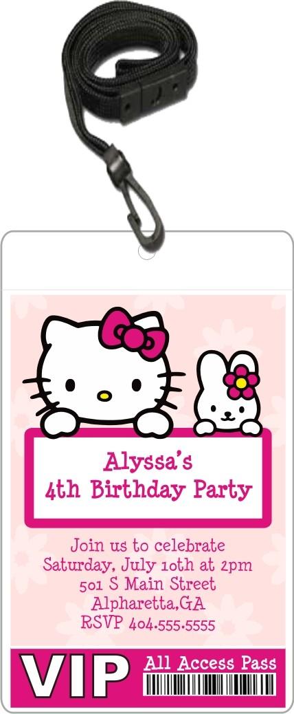 hello kitty vip pass invitation with lanyard - Hello Kitty Party Invitations
