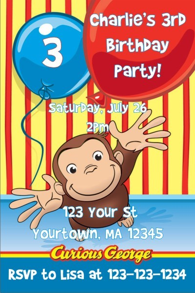 curious george invitations personalized party invites