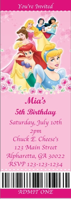 Disney Princess Ticket Style Invitations slim style Personalized