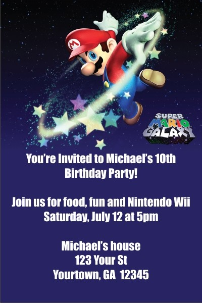 Super Mario Galaxy (Nintendo Wii) Invitations