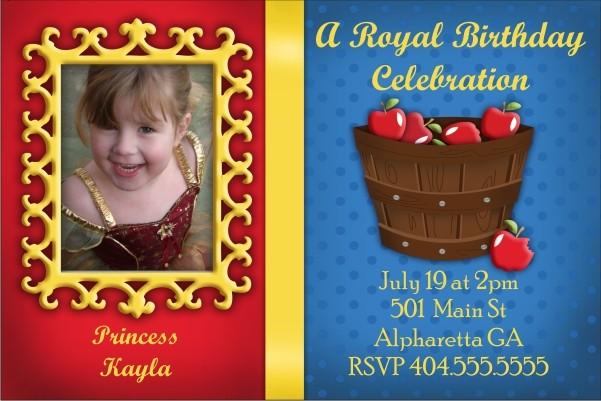 Snow White Mirror Mirror Photo Invitation Personalized Party Invites – Snow White Party Invitations