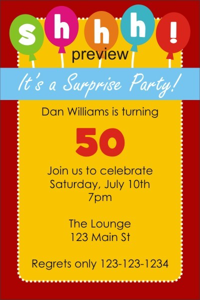 its surprise birthday party invitation