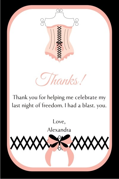 Lingerie Bridal Shower Bachelorette Party Thank You Card 2