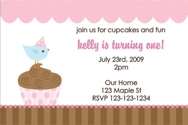 Cupcake Birdie Invitation